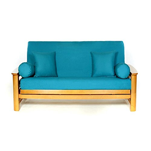 LS COVERS TEAL FULL FUTON COVER, Full Size Fits 6-8in Mattress, 54 x 75 Inch (Bright Futon Cover)