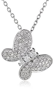 Sterling Silver Diamond Butterfly Pendant Necklace (1/4 cttw, I-J Color, I2-I3 Clarity), 18""