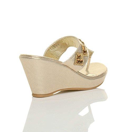 Oro Wedge Taglia Diamante Womens T Heel High Ladies Platform bar Punta Ciabatte Sandali qPwS7at