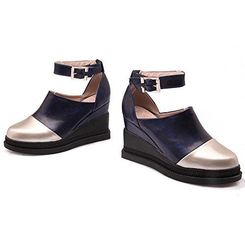 Haut Couleurs VogueZone009 Légeres Boucle Femme Rond PU Bleu Chaussures Mélangées Talon Cuir à XTawFX