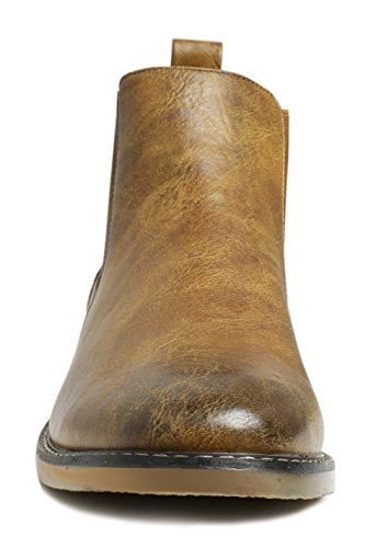 PartyEight Mens Ankle Casual Chelsea Boots Brown 7 by PartyEight (Image #4)