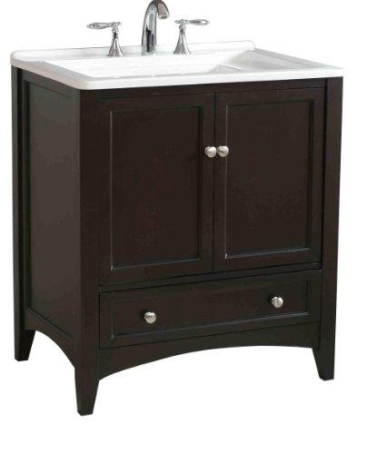 Stufurhome GM-Y01 30.5-Inch Manhattan Single Laundry Vanity in Dark Expresso Finish with Acrylic Sink - Manhattan Undermount Acrylic