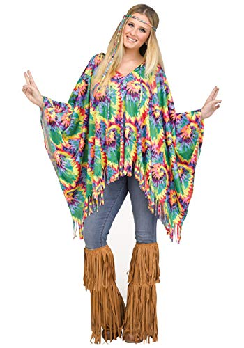 Fun World Tie-Dye Hippie Poncho for Halloween, School Acting, Costume Party, for Women Adult Size]()