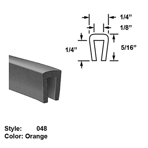 Silicone Foam High-Temperature U-Channel Push-On Trim, Style 048 - Ht. 5/16'' x Wd. 1/4'' - Orange - 10 ft long by Gordon Glass Co.