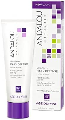 Andalou Naturals Ultra Sheer Daily Defense Facial Lotion SPF 18, 2.7 Ounce