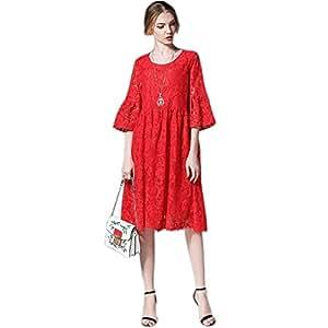 cd82c9560a52 QJKai Ladies lace Dress, Spring Ladies' Sexy lace Round Neck A-line Loose