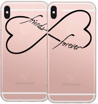 (DECO FAIRY Compatible with iPhone X / Xs, Set of 2 BFF Best Friends Forever Friendship Friends Forever Infinity Series Transparent Translucent Flexible Silicone Cover Case )