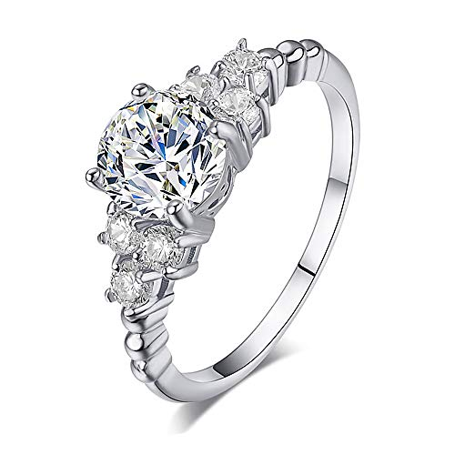 GerTong 1PCS 925 Sterling Silver Brilliant Round Cut Zirconia Simulated Diamond Ring Set in Shoulders Solitaire Luxury Anniversary Promise Engagement Wedding Ring Size 6# (White Gold)
