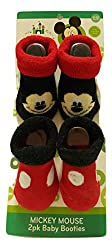 Apparel Best Brands Nickelodeon 2 Pair Baby Booties 0-12M Mickey Mouse Red & Black