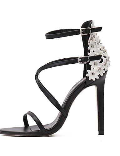 LFNLYX Zapatos de mujer-Tacón Stiletto-Tacones / Punta Abierta-Sandalias-Boda / Oficina y Trabajo / Vestido / Fiesta y Noche-Cuero-Negro Black