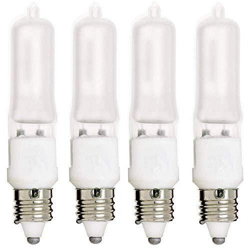 (E11 Bulb, 4 Pack 120V 75W T4 E11 Base Halogen Light Bulbs, Mini Candelabra Flood Light,Long Lasting Life Dimmable - Frosted (Warm White))