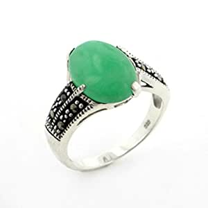 Large Genuine Green Jade and Marcasite Deco Style Sterling Silver Band Ring Size 6(Sizes 6,7,8,9)