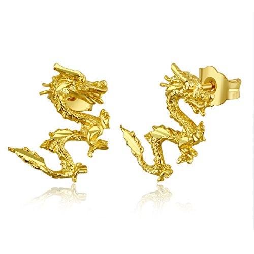Wellingsale Ladies 14k Yellow Gold Polished Dragon Stud Earrings (7 X 11mm) ()