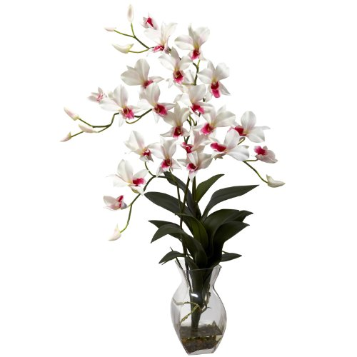 Nearly Natural Home Indoor Decorative Tabletop Dendrobium Orchid With Vase Arrangement White Dendrobium Orchid Centerpieces