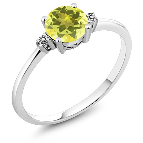 (Gem Stone King 10K White Gold Engagement Solitaire Ring set with 1.03 Ct Round Canary Mystic Topaz and White Diamonds (Size 9))
