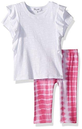 Splendid Little Girls' Tie Dye Legging Set, Optic White, 4/5 (Splendid Leggings Littles)