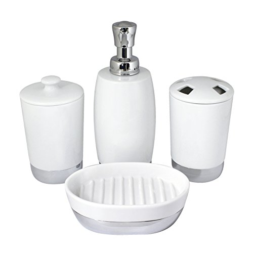 (MODONA Four Piece PORCELAIN Bathroom Accessories Set - CHROME SS304 BASE - Arora / Flora Series)