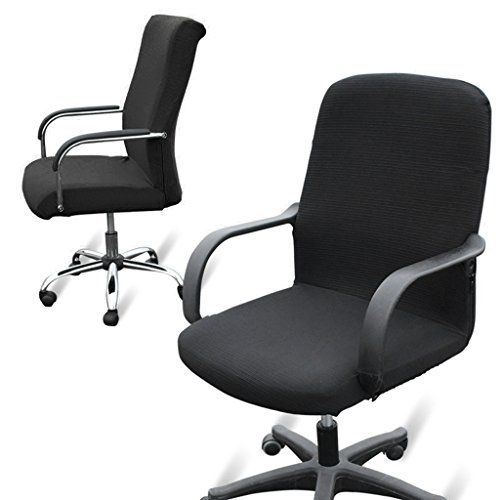 Office Computer Chair Covers Stretchy  Polyester Desk Chair / Rotating Chair  Cover, Large Size (Black)