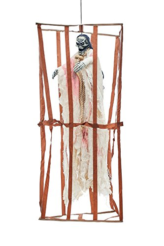 Animated Witch Ghost Death Cage Undead Skeleton Scary Halloween Party Decorations (Brown, Beige, Red, (Fiesta De Halloween En Casa)