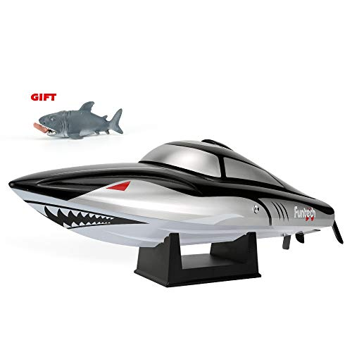 FUNTECH RC Boat Shark Design Super Speed 25MPH(40km/h) with Reverse Function - 2.4 GHz RTR Remote Control Boat with Self-righting Auto Roll Back, Best Gifts for Kids&Adults, Boys& Girls - Black