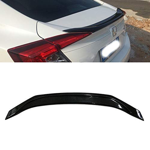 Carbon Fiber Rear Trunk Spoiler Wing Lip Fit for 2016-2018 Honda Civic Sedan 4 Door