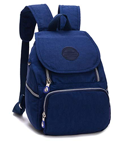 Nylon Backpack for Women Girls Small Backpack Purse Lightweight Travel Daypack for Hiking Sports Outdoor Diseny Disenyland (Solid Navy Blue) ()