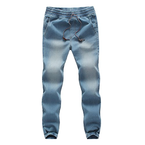 WOCACHI Mens Denim Jogger Pants Elastic Drawstring Work Trousers Casual Jeans Winter Big Distressed Skinny Drop Autumn Sports Pants (Light Blue, X-Large) -