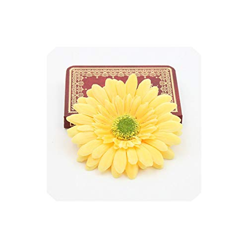 ERIC-MUN-Artificial Flowers 5Pcs/Lot 10Cm Gerbera Silk Flower Sunflower Tulip Wreath Pectoral Flower Clothing Hat Shoes Christmas,Yellow - Seed Wreath Sunflower