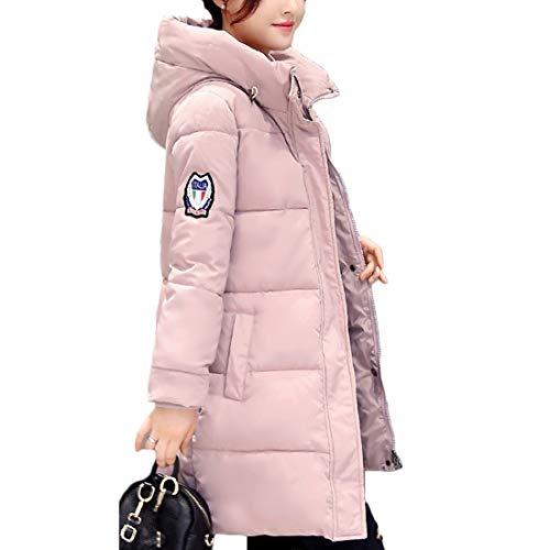 Sezione Cappotto Inverno Lunga Abbigliamento Femminile Chiaro Rosa E Cerniera Cappuccio Muchao Libero Media Tempo Tasca 1tqZIHRR