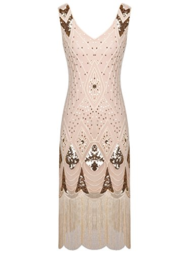 FAIRY COUPLE 1920s Gatsby Sequined Embellished Tassels Hem Flapper Dress D20S014(S,Champagne)