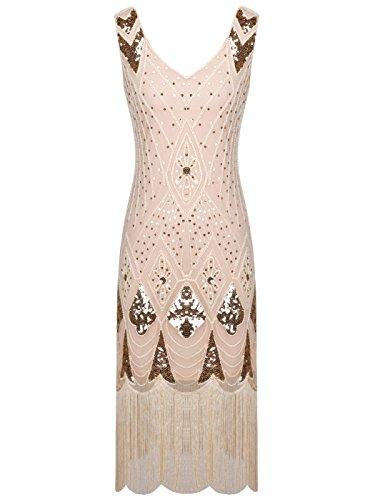 FAIRY COUPLE 1920s Gatsby Vestido con Lentejuelas Embellecido Borlas Dobladillo D20S014 Champagne
