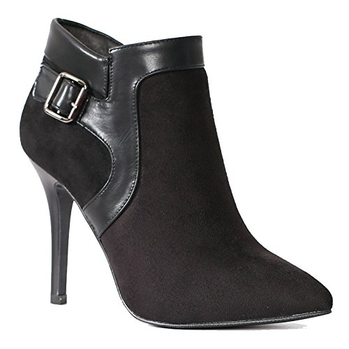 khskx-suede costuras High Heels Stiletto Heels Ladies corto botas Martin y desnudas botas negro, Thirty-five Thirty-five