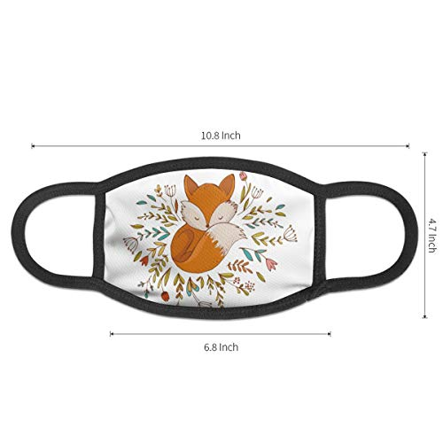 NiYoung Unisex Breathable Mouth Masks Anti-Dust Protective Half Face Mouth Cover - Fox Sleeping in A Floral Made Bed Circle - Elastic Earloop Face Mask for Outdoor Travel Skiing Hospital