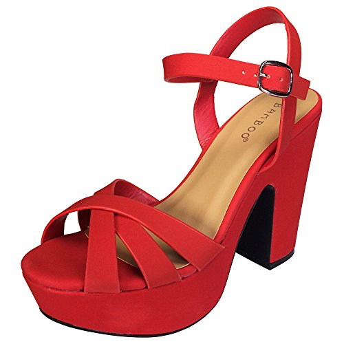 (BAMBOO Women's Simple Platform Chunky Heel Sandal, Red Nubuck PU, 10.0 B (M) US)