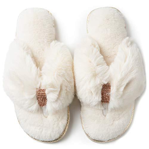 RockDove Women's Faux Fur Rhinestone Thong Slipper