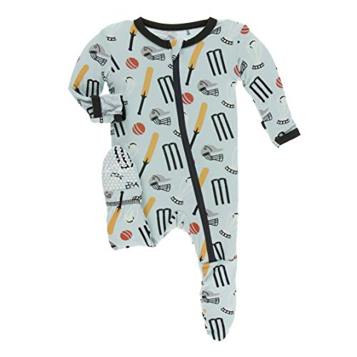Kickee Pants Little Boys Print Footie with Zipper - Spring Sky Cricket, 12-18 Months ()