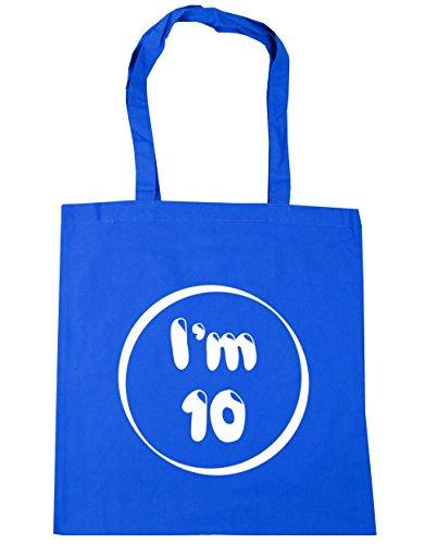 HippoWarehouse I 'm 10bolsa de la compra bolsa de playa 42cm x38cm, 10litros Azul Aciano