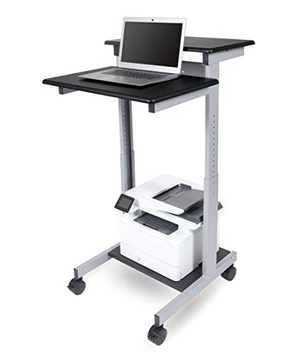 """24"""" Shelves Adjustable Mobile Stand up Workstation (Black Shelves/Silver Frame)"""