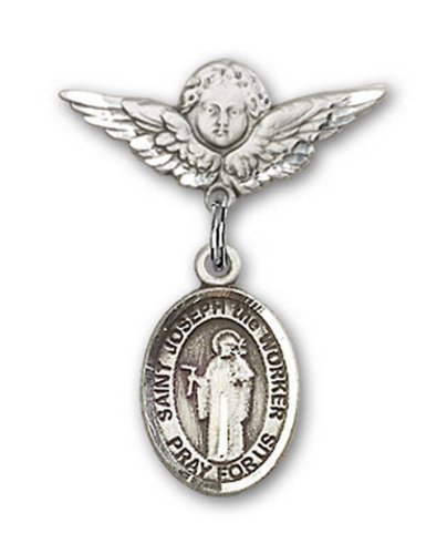 Icecarats Créatrice De Bijoux En Argent Sterling St. Joseph Le Charme Ange Broche De Badge Travailleur 7/8 X 3/4