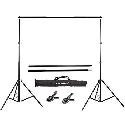 Slow Dolphin Photo Video Studio 10Ft Adjustable Backdrop Support System Kit Background Stand with Carry Bag -