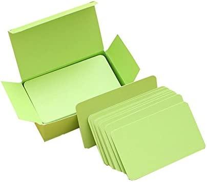 fablcrew – Juego de 100 tarjeta blanca en blanco Tarjeta de memoria blanca para Word Graffiti DIY Tarjeta vacío papel Kraft 9 * 5CM verde