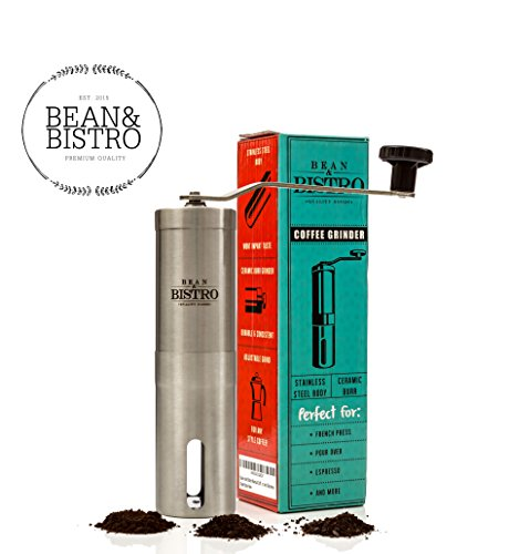 The Original Manual Coffee Grinder by Bean & Bistro - Adjustable Ceramic Burr, Stainless Steel Body, Portable