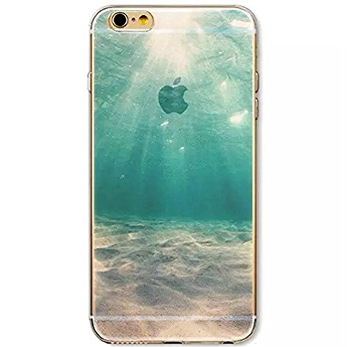 iPhone SE / 5 5S Cover,TYoung Colorful Embossing Landscape Creative Pattern Ultra Slim Soft TPU Flexible Silicone Case Transparent Clear Cover Skin Protector - Sunshine Under Sea]()