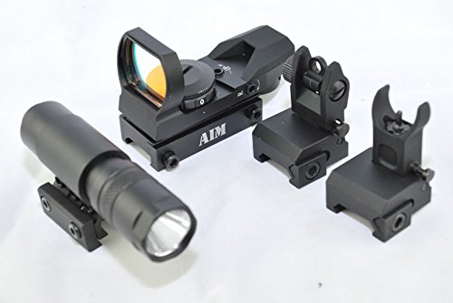 TacBro - AIM Reflex Red Dot Sight + AIM 90 Lumen Flahslight + AIM AR Low Profile Front/Rear Flip-Up Sight by TACBRO