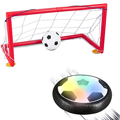 Kids Toys Hover Soccer Ball Indoor Set Foam Bumper Flashing LED Light Sports Games w/ an Inflatable Football for Boys Girls Age 4 5 6 7 8 9 10 11 Year Old Air Hovering Disk Training Plastic Ball ()