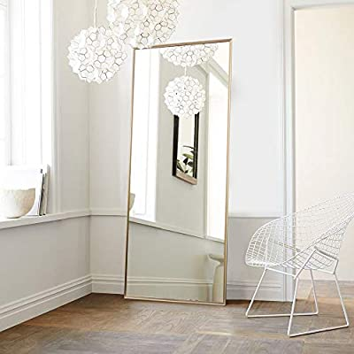 """NeuType Full Length Mirror Floor Mirror with Standing Holder Bedroom/Locker Room Standing/Hanging Mirror Dressing Mirror Wall-Mounted Mirror (Golden) - FULL SIZE FLOOR MIRROR - Overall Size: 65""""x22"""". Large enough for you to see your full outfit in a single glance. QUALITY MATERIAL - The frame is made of anti-rust aluminum alloy, sturdy and strong. The mirror use shatter-proof glass, more safe, more reassuring. FLOOR STAND DESIGN & WALL-MOUNTED DESIGN - The mirror can lean to the wall or standing anywhere with the stand, or you can hang it on the wall for space-saving. - mirrors-bedroom-decor, bedroom-decor, bedroom - 41n2yyfPuJL. SS400  -"""