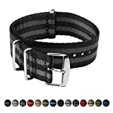 Archer Watch Straps | Seat Belt Weaved Nylon Premium Quality NATO Straps | Heavy Duty Military Style Replacement Watch Band (Black/Gray, Stainless, 22mm)