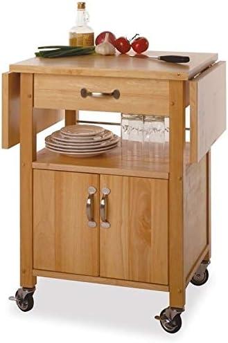 Pemberly Row Butcher Block Kitchen Cart