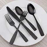 Matte Black Silverware Set, 20-Piece Stainless