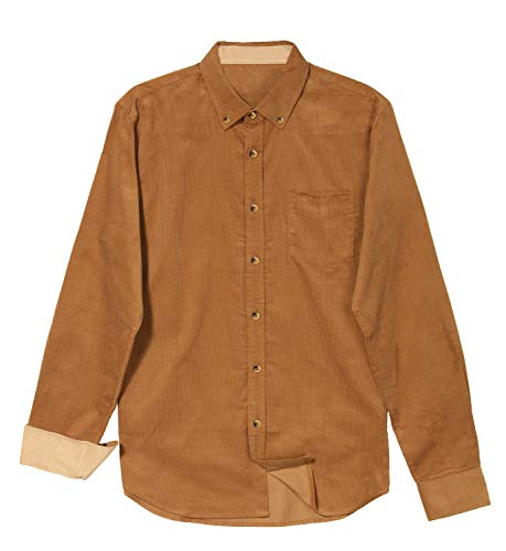 VICALLED Men's Cotton Lightweight Corduroy Shirt Solid Color Long-Sleeve Tops Camel